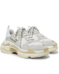 Balenciaga Triple S Nubuck Leather And Mesh Sneakers