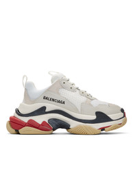 Balenciaga White And Grey Triple S Sneakers