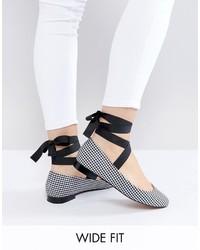Asos Loved Up Wide Fit Tie Leg Ballet Flats