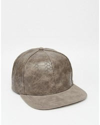 Asos Brand Snapback With Snakeskin Effect And Contrast Peak