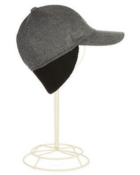 Black Brown 1826 Cashmere Baseball Cap With Ribbed Trim