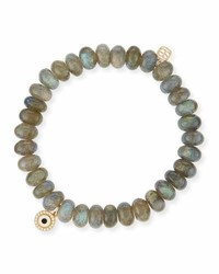 Sydney Evan 8mm Labradorite Bead Bracelet W14k Gold Diamond Disc Charm