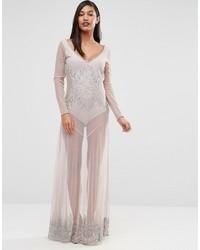 Boutique beaded sheer maxi dress medium 924128