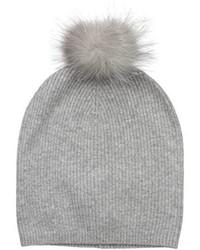 Sofia Cashmere 100% Slouchy Beanie W Indigo Fox Fur Pom