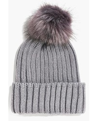 Boohoo Amy Ribbed Beanie With Faux Fur Pom