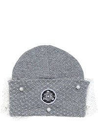 Beanie Hat With Veil Bow