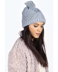 Boohoo Khloe Cable Knit Pom Beanie Hat