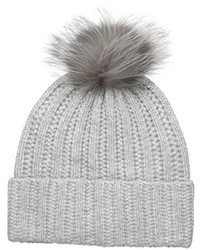 Badgley Mischka Cashmere Blend Ladder Stitch Beanie With Silver Fox Pom