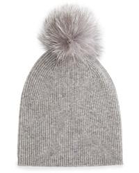 Sofia Cashmere Cashmere Fur Pom Hat Gray