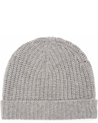 Neiman Marcus Cashmere Ribbed Cuffed Beanie Hat Gray