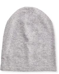 Neiman Marcus Cashmere Slouchy Beanie Hat Gray