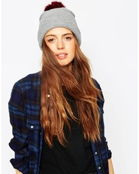 Asos Collection Fine Knit Faux Fur Pom Beanie
