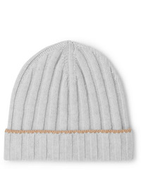 Brunello Cucinelli Contrast Tipped Ribbed Cashmere Beanie