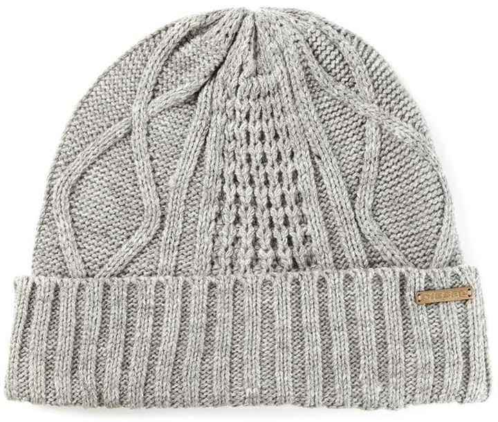 Diesel Cable Knit Beanie Hat a836117f36c