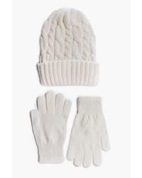 Boohoo Eve Chunky Knit Beanie Scarf Glove Set