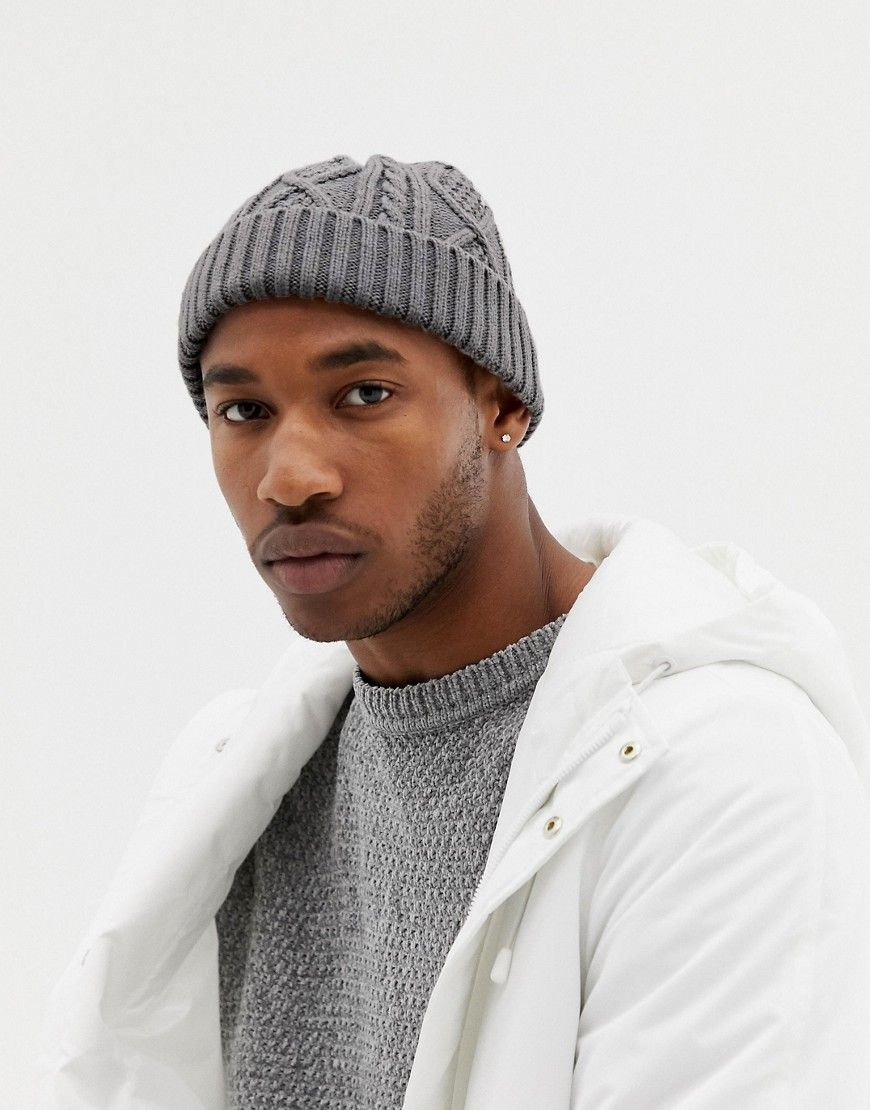 7bb3ae131503 ASOS DESIGN Fisherman Beanie In Grey Cable Knit, $12 | Asos ...