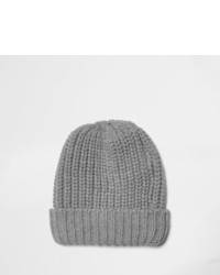 River Island Grey Knitted Beanie Hat