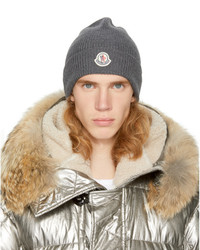 ... Moncler Grey Ribbed Wool Beanie a332142602d8