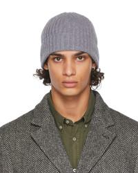Officine Generale Grey Wool Rib Beanie