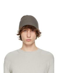 Rick Owens Grey Wool Ribbed Beanie