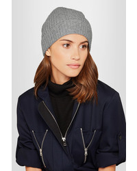 Madeleine Thompson Holby Waffle Knit Cashmere Beanie Gray