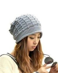 Jovana Girl Triangle Slouchy Knit Beret Beanie Hat Cap Light Gray