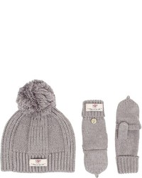 UGG Kids Mclain Ribbed Beanie And Flip Mitten Set