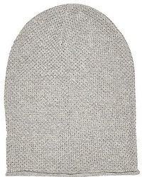 River Island Light Grey Rolled Edge Beanie Hat