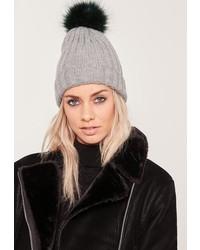 Missguided Grey Contrast Faux Fur Pom Pom Beanie