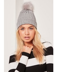 Missguided Grey Metallic Knit Faux Fur Pom Pom Beanie