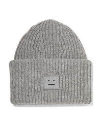 Acne Studios Pansy Appliqud Ribbed Wool Beanie