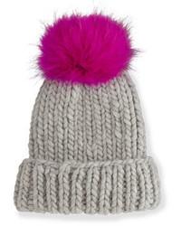Eugenia Kim Rain Hat With Fur Pom Pom Graypink