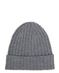 Barneys New York Rib Knit Beanie Grey