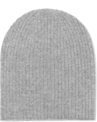 Johnstons of Elgin Ribbed Cashmere Beanie Gray