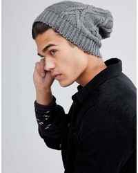 Esprit Slouchy Cable Knit Beanie In Gray
