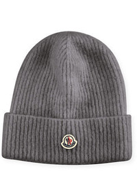 Moncler Slouchy Ribbed Logo Beanie Hat