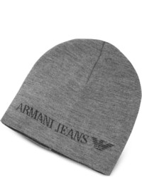 Armani Jeans Solid Wool Blend Beanie Hat