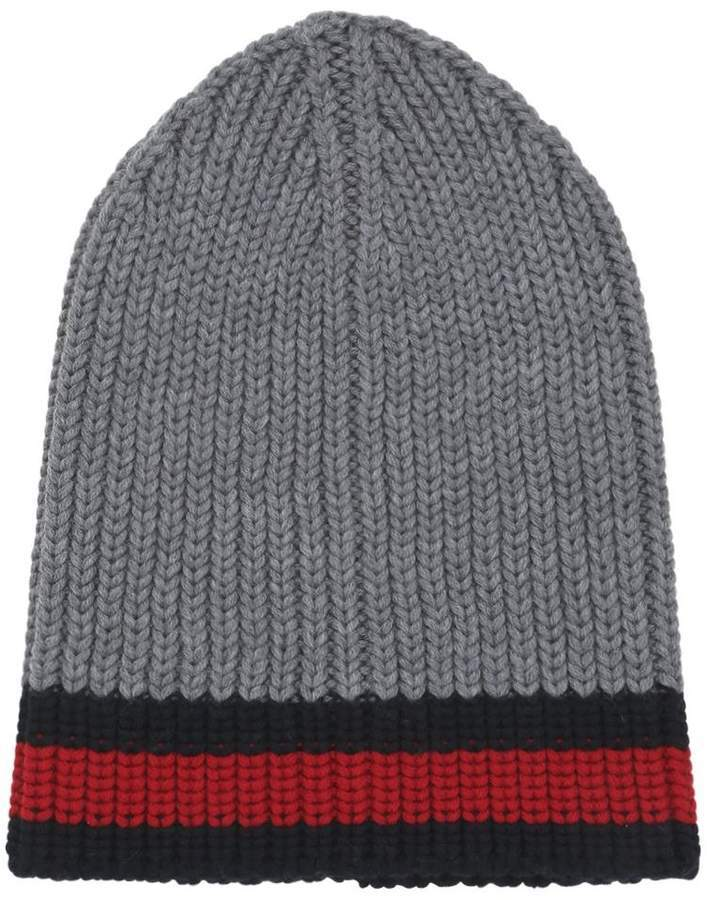 614fa9c9387 ... Gucci Web Wool Cable Knit Beanie Hat ...