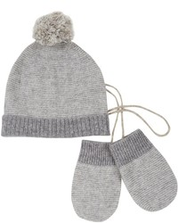 White + Warren Whitewarren Striped Hat Mitten Set Grey Multi 6 12 Months