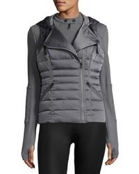 Blanc Noir 3 In 1 Satin Packable Moto Jacket Vest Charcoal