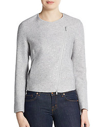 Brunello Cucinelli Sequined Cashmere Silk Moto Jacket