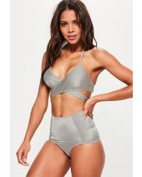 Missguided Grey Cross Front Bikini Top  Mix Match