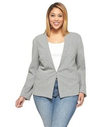 Ava Viv Plus Size Long Sleeve Blazer Heather Gray