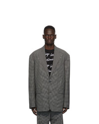 Balenciaga Black And White Check Boxy Blazer