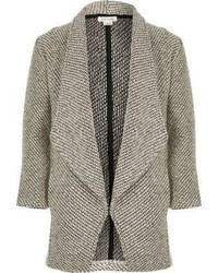 River Island Girls Grey Knit Waterfall Blazer