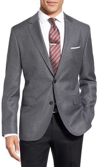 BOSS Jewels Trim Fit Check Wool Sport Coat