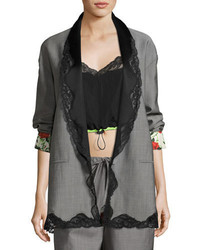 Alexander Wang Lace Trim Single Breasted Shawl Collar Blazer Dove Gray
