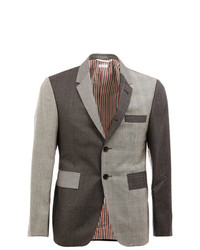 Thom Browne Notched Lapel Patterned Blazer Grey