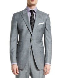 Tom Ford Oconnor Base Sharkskin Two Piece Suit Light Gray