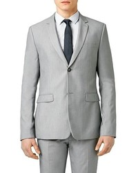 Topman Skinny Fit Textured Grey Suit Jacket